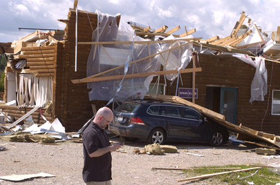 A destroyed building is seen Aug. 21, 2009 in Durham, Ont., where an 11-year-old boy died after taking cover from a storm under a wood-framed picnic shelter.