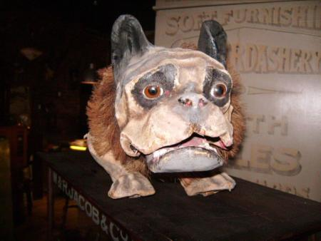 Antique paper mache French Bulldog growler for sale