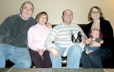 The Marks family and their French Bulldog, Stu