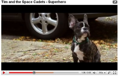 Hugo the French Bulldog is in the new Tim and the Space Cadets video