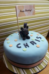 Tyson the French Bulldog tops this adorable cake