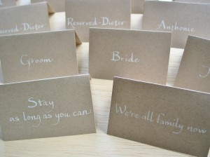 Wedding place cards on recycled kraft paper