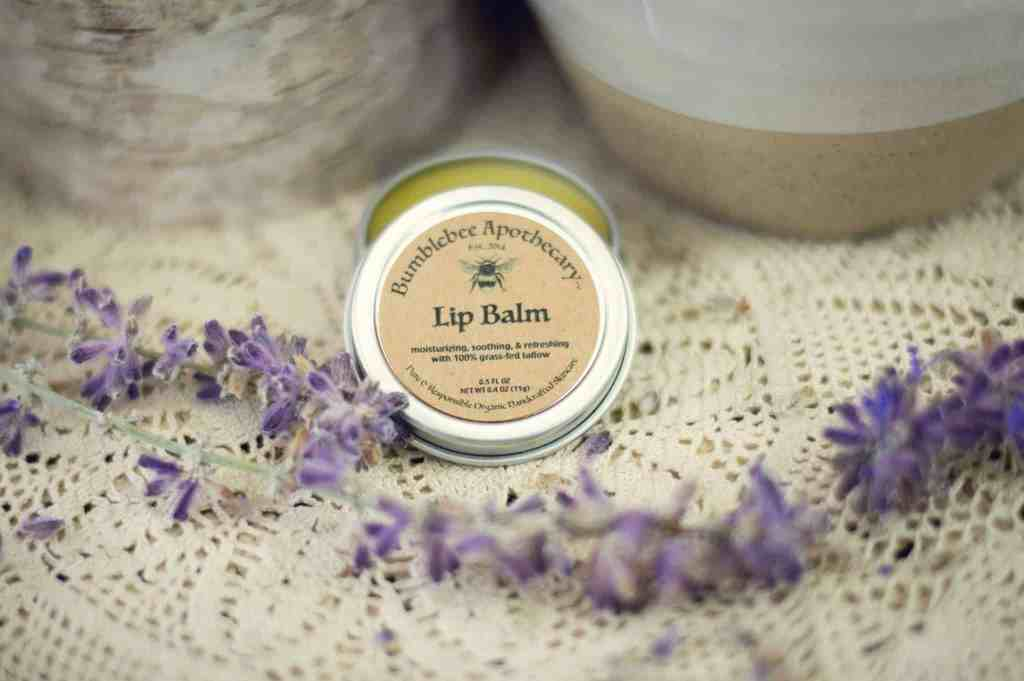 Tallow lip balm recipe with raw honey and essential oils