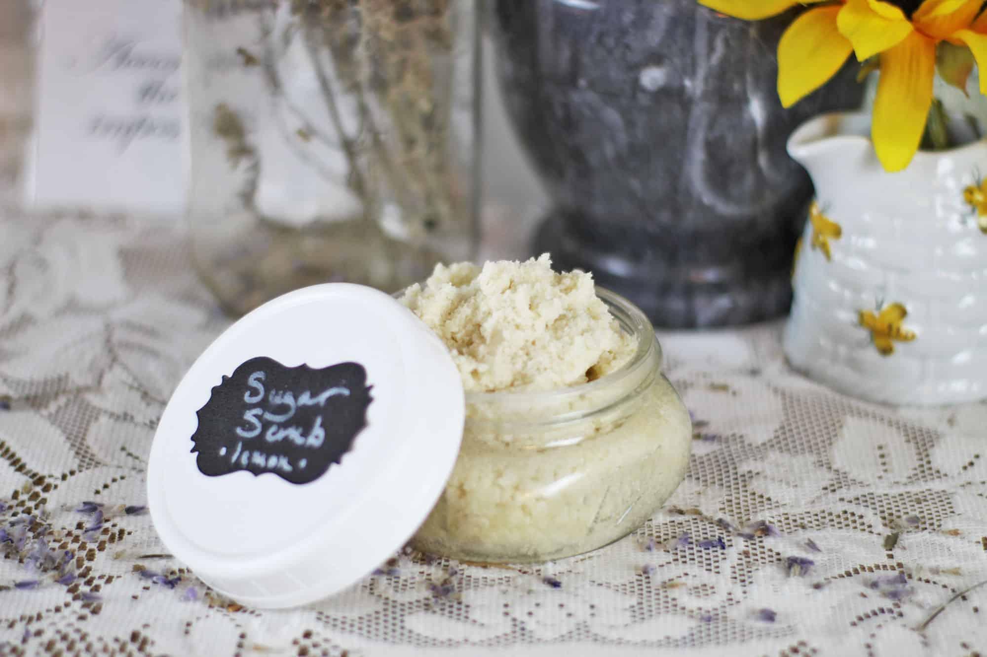 Homemade face exfoliator whipped tallow sugar scrub