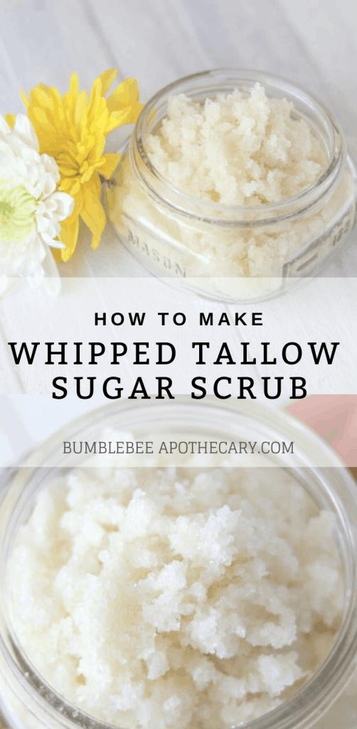 Homemade face exfoliator whipped tallow sugar scrub #sugarscrub #exfoliator #tallow