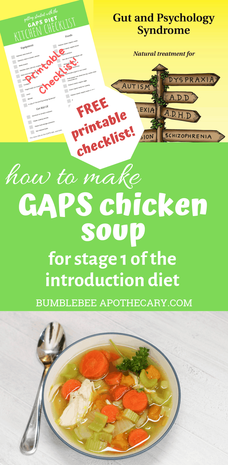 GAPS chicken soup recipe for stage 1 of the introduction diet #gapsdiet #leakygut #chickensoup #recipe