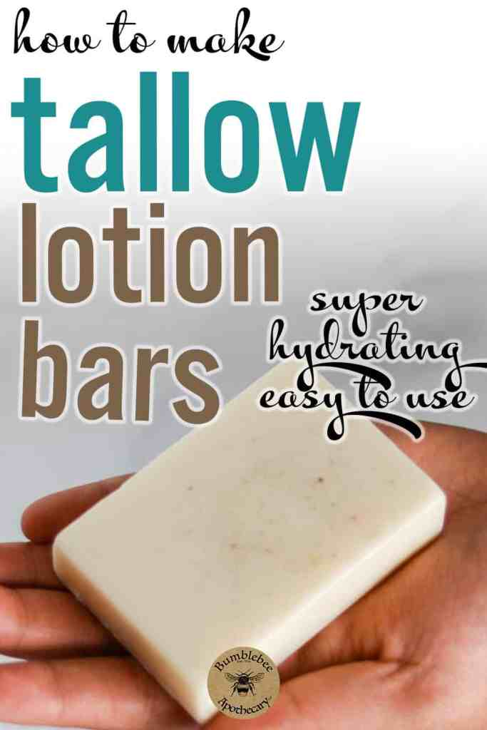 Learn how easy it is to make your own DIY tallow lotion bars with this tallow lotion bar recipe. Super hydrating, and such a convenient way to get the benefits of tallow for skin. Tallow lotion, beef tallow benefits, homemade tallow lotion. #bathandbody #hairandbeauty #diyskincare