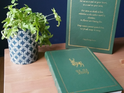 A green leather book and gift box with gold details