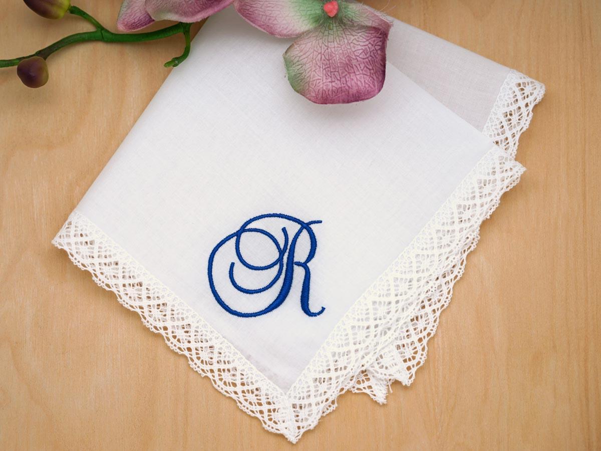 monogrammed wedding hankie w