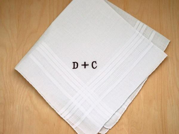 Mens Monogrammed Couples Handkerchief - Font