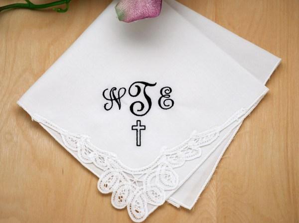 Memorial Monogrammed Handkerchief With 3 Initials Cross - Font