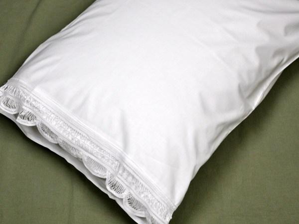 Pair Of White Scallop Battenburg Lace Edge Pillowcases