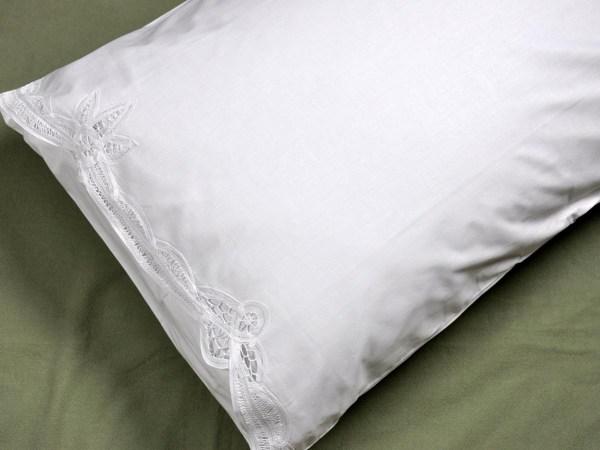 Pair Of White Romantic Battenburg Lace Pillowcases