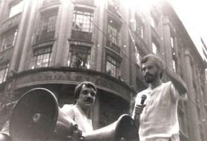 Sócrates dalam demo Gerakan Demokrasi Corinthians
