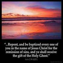 Then Peter said unto them, Repent, and be baptized every one of you in the name of Jesus Christ for the remission of sins, and ye shall receive the gift of the Holy Ghost.