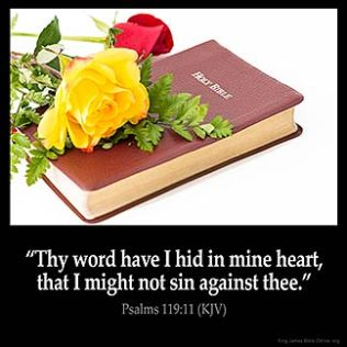 Psalms_119-11: Thy word have I hid in mine heart, that I might not sin against thee.