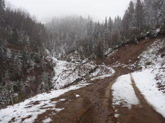 Leider immer noch Schnee auf der Strecke