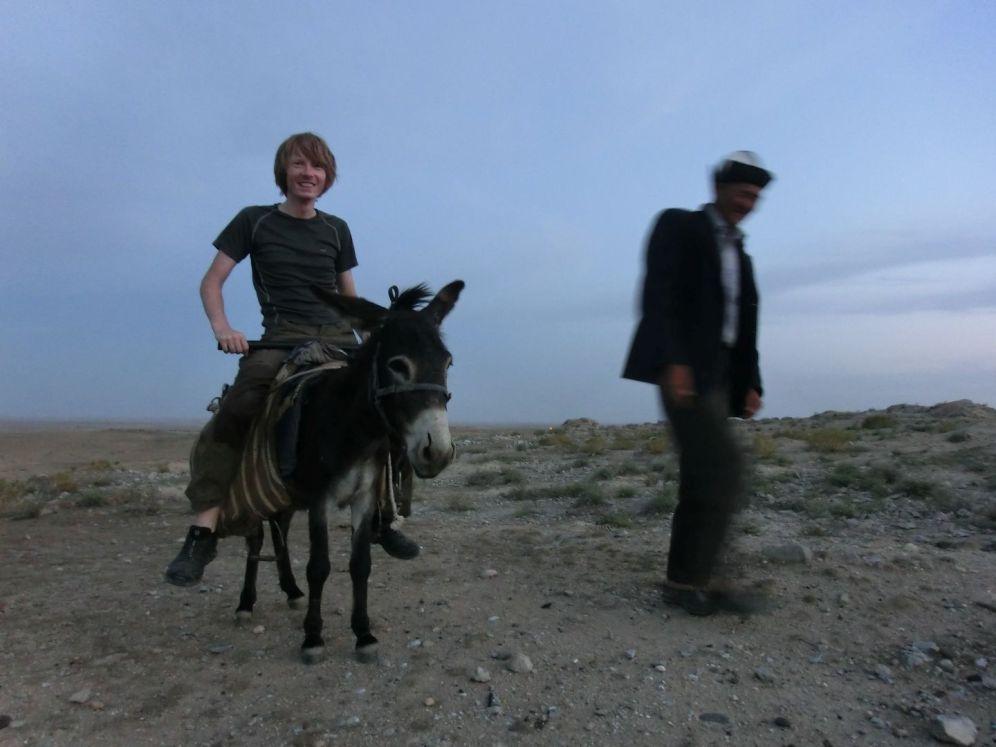 Thomas hat sich getraut - so ein Esel ist ein stabiles Gefährt