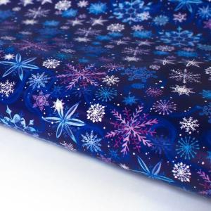 Бумага упаковочная «Синие снежинки»
