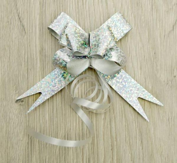 Бант-бабочка серебро