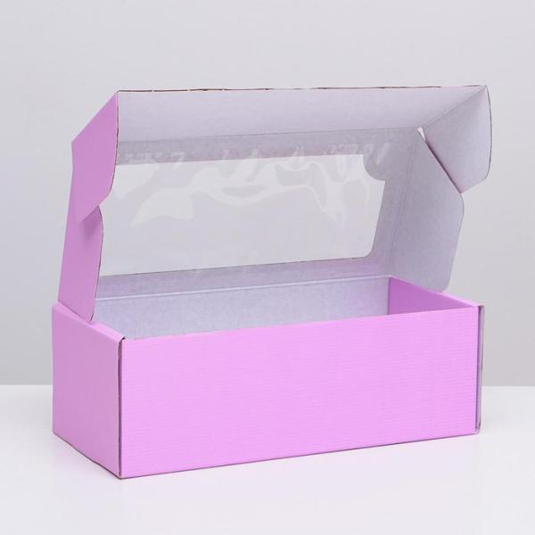 Коробка самосборная, с окном, сиреневая