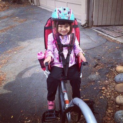 Bike ride with Eliza and a quilt I started years ago