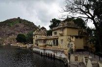 side view of sukh mahal with jait sagar lake