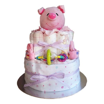 Girl nappy cake with pig toy
