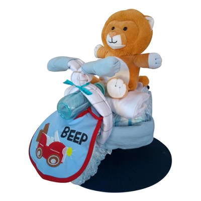 Blue nappy tricycle with lion toy