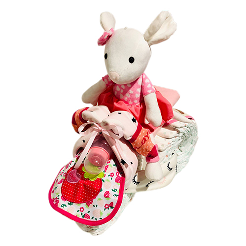 Girl nappy tricycle with bunny on top