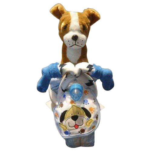 Boy nappy tricycle in blue with doggy