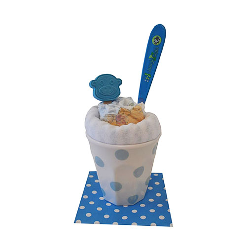 Blue sundae with baby products