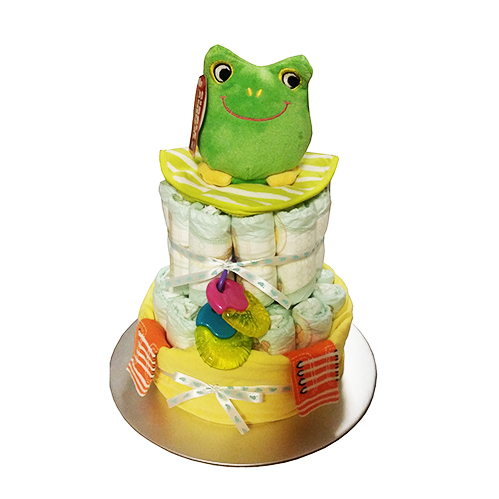 2 tier nappy cake with frog