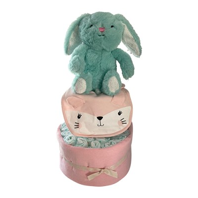 bunny nappy cake in green and pink