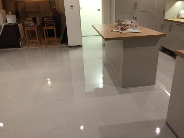 seamless kitchen flooring wall cabinet doors sika decofloor private installation bund lining systems jointless