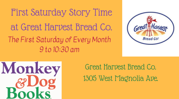 Bun E. Boniface was a special guest of Monkey and Dog Books for Great Harvest Bread's First Saturday Story Time on April 6th.