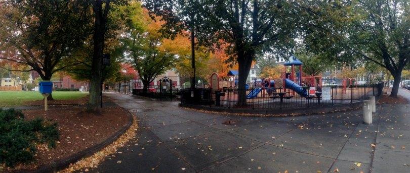 The playground in Sennott Park in Cambridge.
