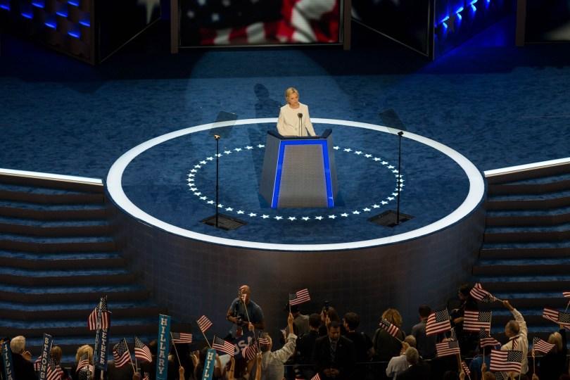 Hillary Clinton addresses delegates the Democratic National Convention in Philadelphia, July 29, 2016. Pankaj Khadka/BUNS