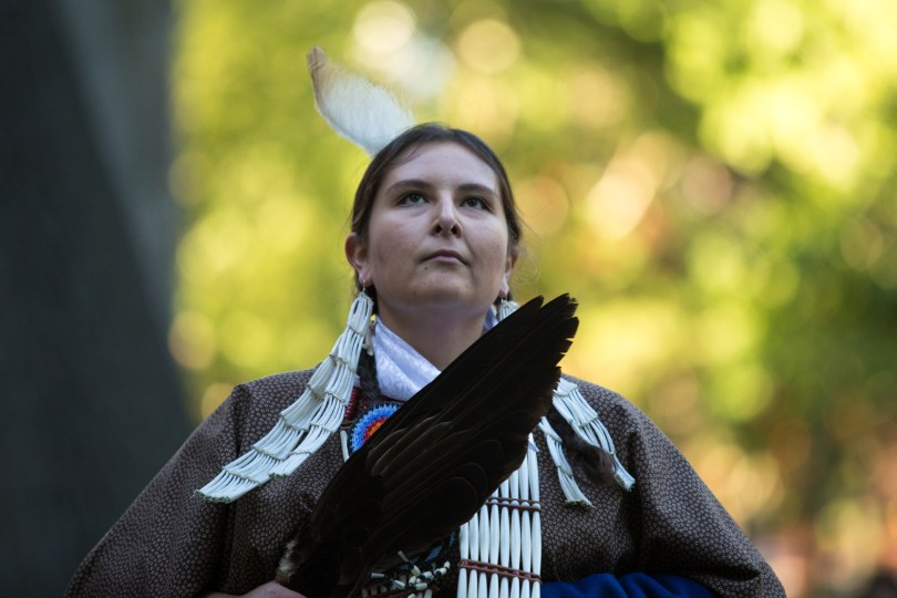 Tosa Two Heart performs a Native American dance at the Indigenous Peoples' Day celebration at Harvard University. Photo by Alexandra Wimley/BU News Service
