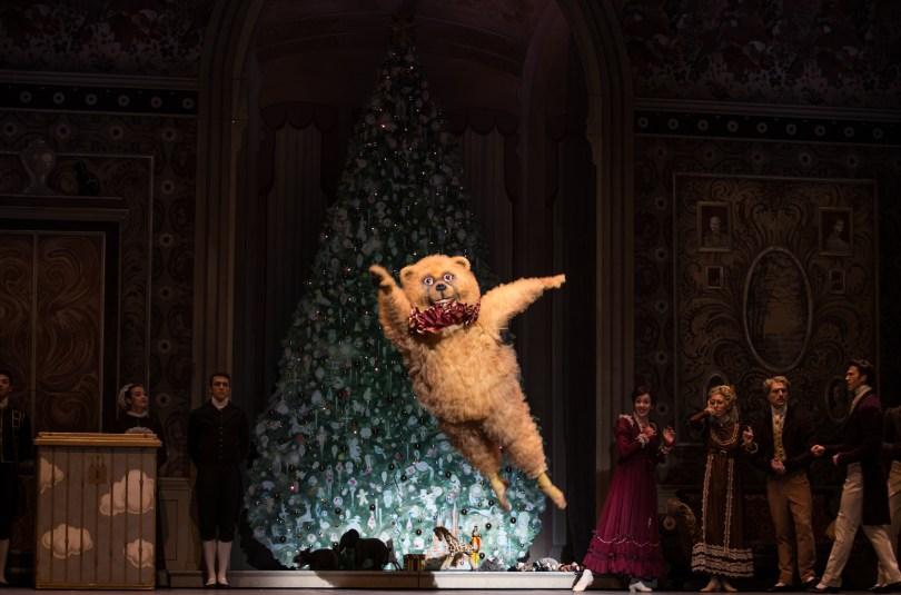 """BOSTON, November 25, 2016 – The Bear in Boston Ballet's """"The Nutcracker"""" during the Party Scene in dress rehearsal. Photo by Kankanit Wiriyasajja."""