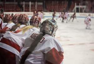 The BU women's hockey team will have to wait at least one more year for a shot at another Beanpot title. BU has not won the annual tournament since 1981. Photo by Graham Pearsall/BU News Service