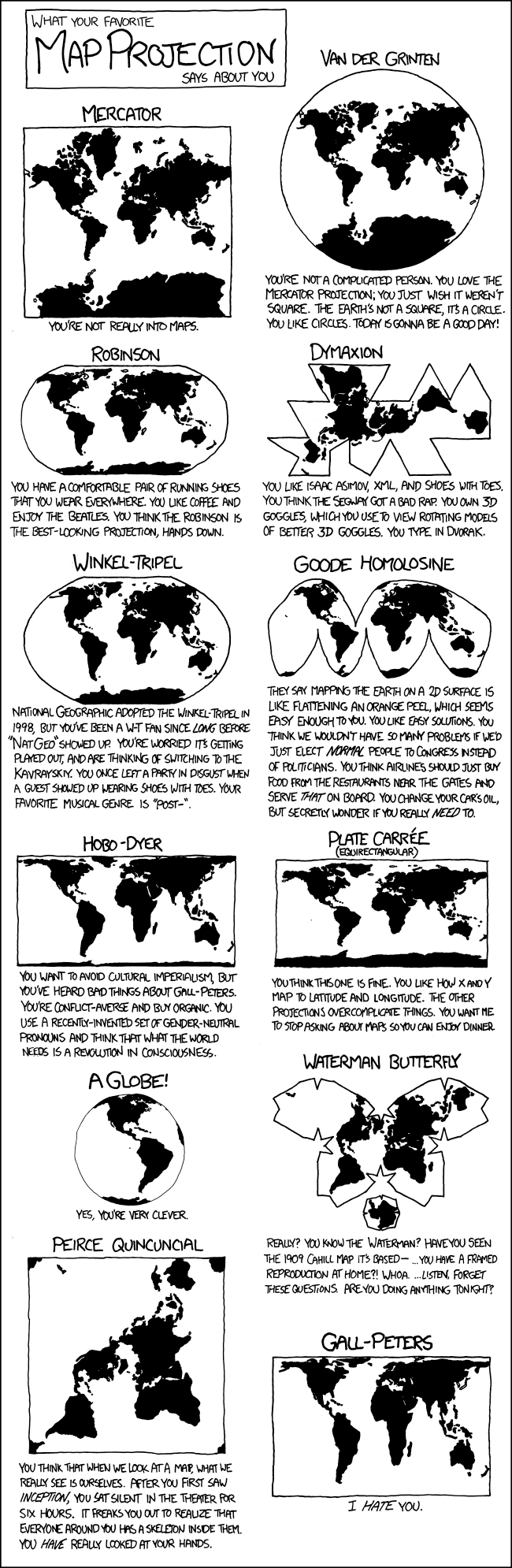 Comic about map projections.