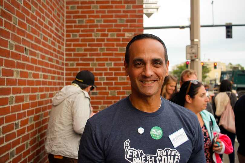 Somerville Mayor Joseph Curtatone at the 13th edition of the Fluff Festival. Somerville, Mass. September 22, 2018. Photo by Diego Marcano / BU News Service.