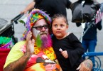 Big Dave, the clown, at the Columbus Day Parade in East Boston, on Sunday, Oct. 7. Photo by Flaviana Sandoval / BU News Service