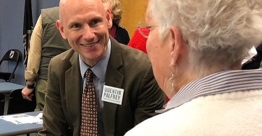 Quentin Palfrey, Democratic candidate for Lt. Governor, speaking with a citizen of Massachusetts. (Charlesrogers16 / WikiMedia Commons)