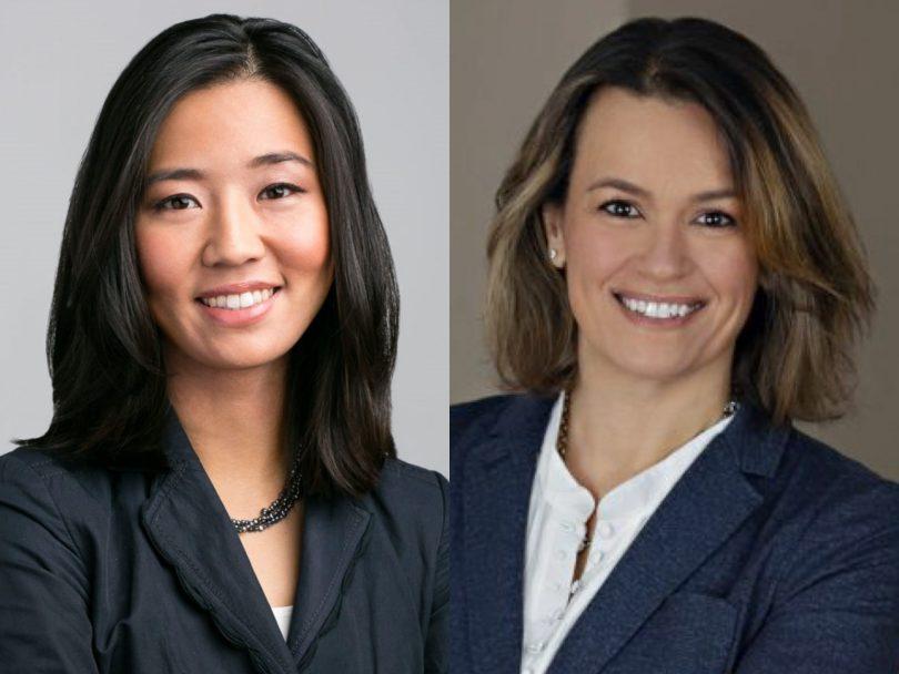Michelle Wu (left) and Annissa Essaibi George (right)