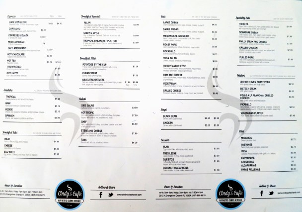 Cindys Cafe Menu