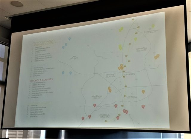 Map of all of the venues managed by Orlando Venues. Apologies for the photo quality.