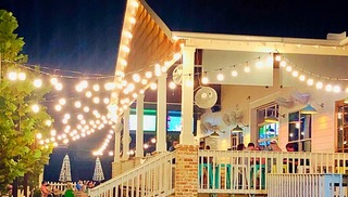 Porch with lights