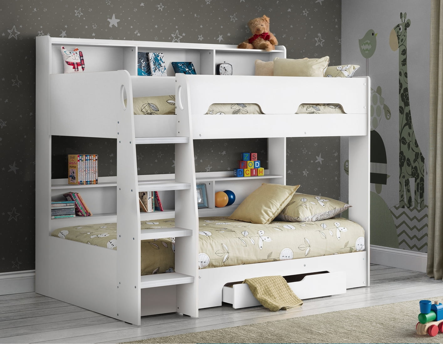 Orion Bunk Bed in White Bunk Bed with Shelves  495 on